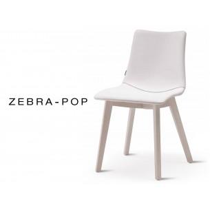 Chaise pieds bois ZEBRA-POP assise plastique garnie habillage cuir blanc piétement blanchi - Lot de 12 pièces