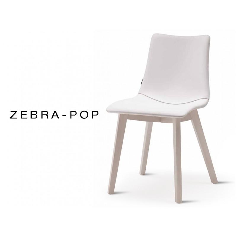 Chaise Pieds Bois ZEBRA POP Assise Plastique Garnie Habillage Cuir Blanc  Piétement Blanchi   Lot