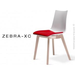 Chaise pieds bois ZEBRA-XC assise coque blanche avec coussin rouge - Lot de 12 pièces