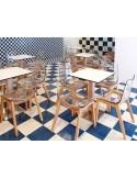 Exemple d'agencement avec les chaises coques pieds bois ZEBRA assise plastique transparente ou fumé
