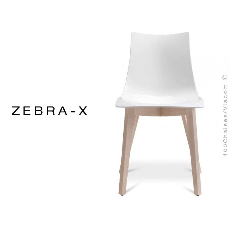Chaise coque pieds bois ZEBRA-X assise plastique couleur blanche - Lot de 12 pièces