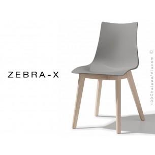 Chaise coque pieds bois ZEBRA-X assise plastique couleur gris - Lot de 12 pièces