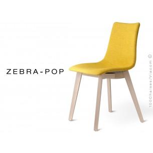 Chaise coque pieds bois ZEBRA-POP assise garnis habillage tissu couleur safran, piétement blanchi - Lot de 12 pièces