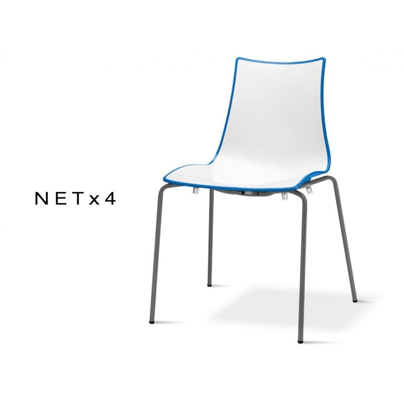 Chaise Plastique Design NET 4 Assise Bicolore Dos Multifacette Bleu Pietement Peint Anthacite