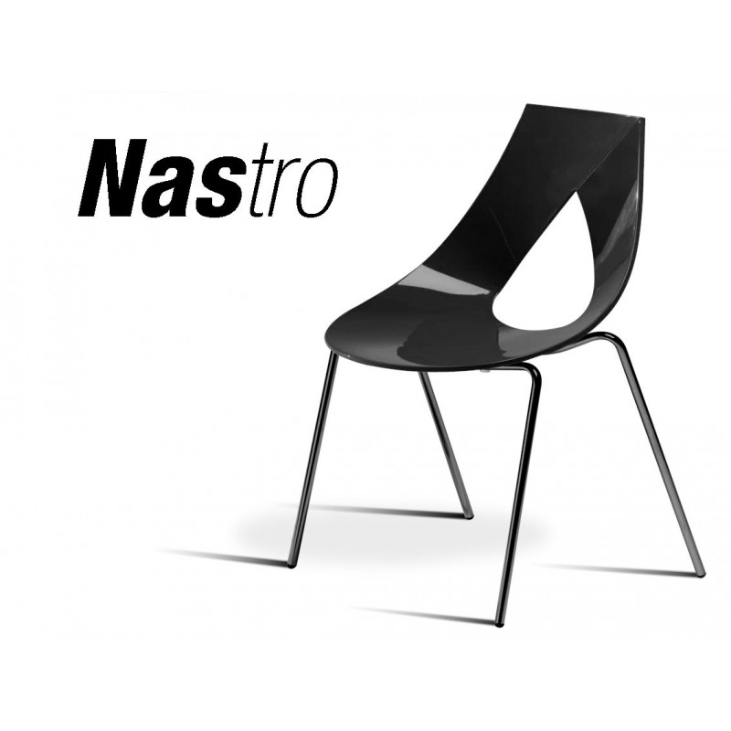 Chaise NASTRO 4 - Black and White, structure et assise noir.