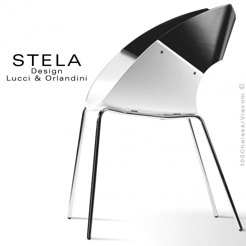 Chaise design coque STELA assise blanc et dossier noir, en bois peint, piétement peint argent
