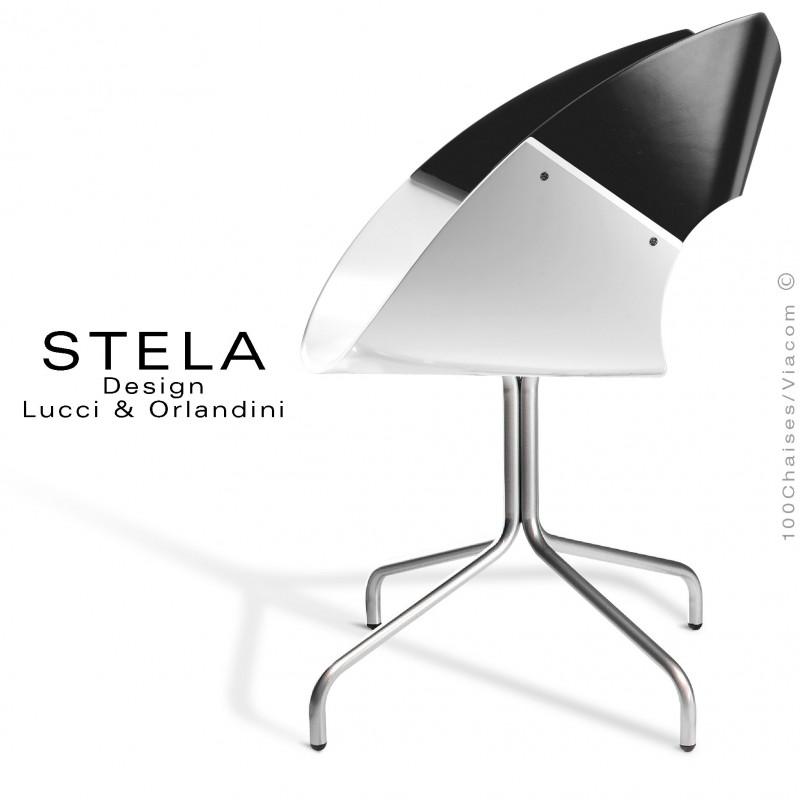 Chaise design coque STELA assise blanche et dossier noir peint, piétement acier 4 branches peint argent