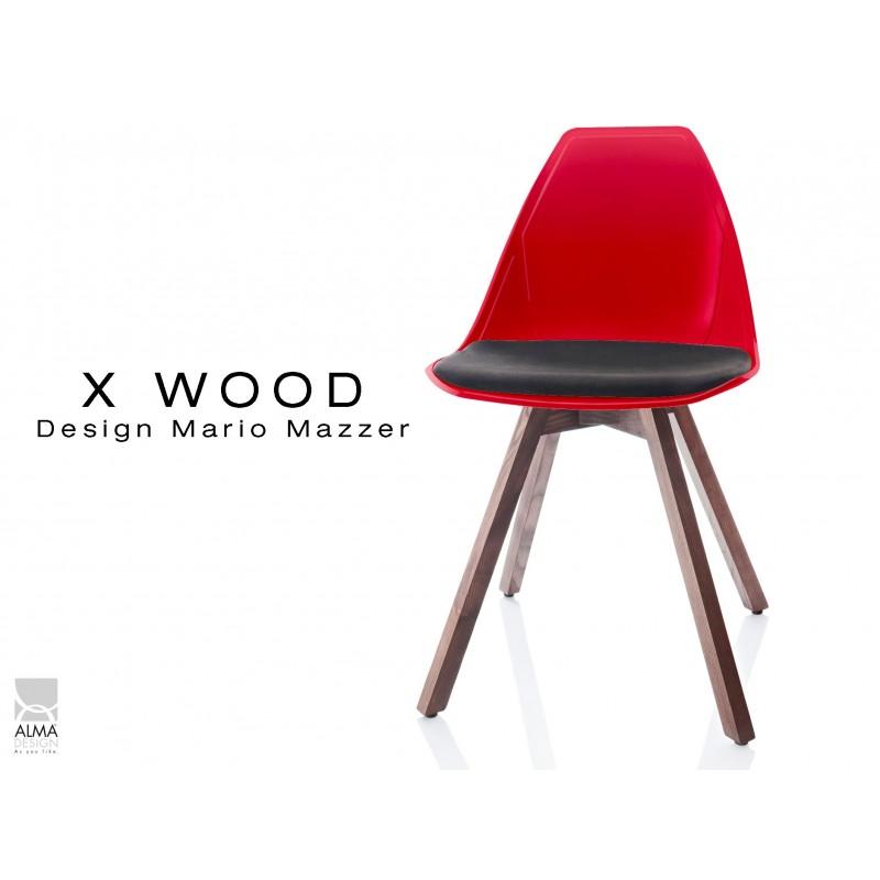 X-WOOD chaise design coque rouge et coussin noir piétement bois Noyer - lot de 4 chaises
