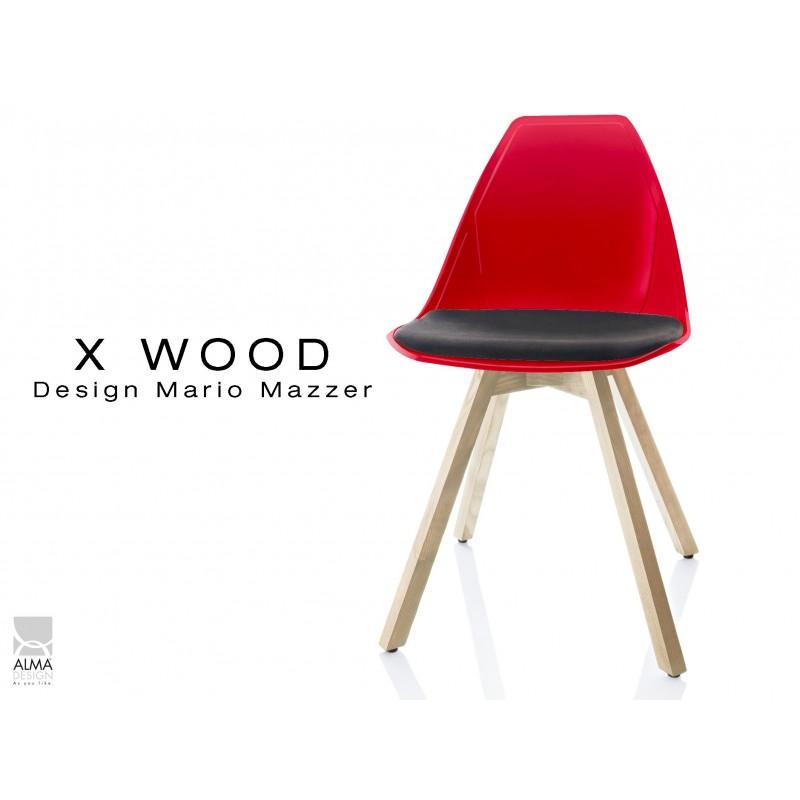 X-WOOD chaise design coque rouge et coussin noir piétement bois Naturel - lot de 4 chaises