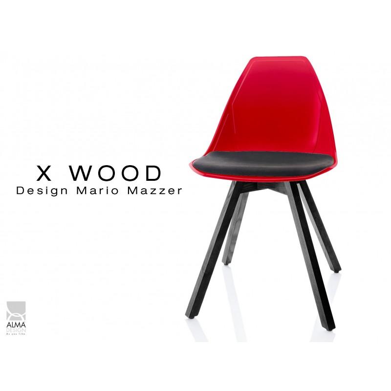 X-WOOD chaise design coque rouge et coussin noir piétement bois gris fer - lot de 4 chaises