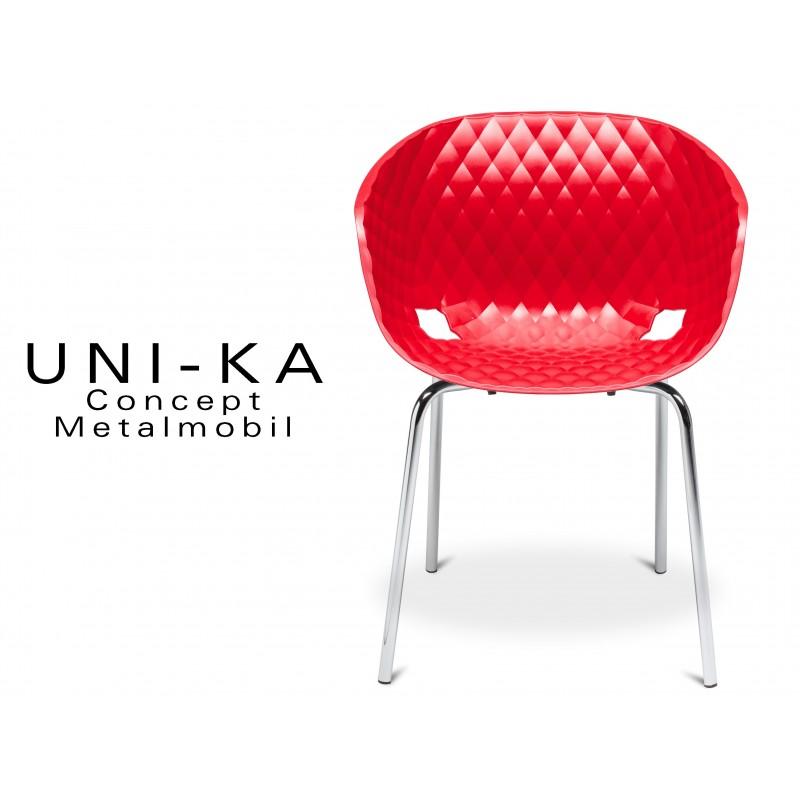 UNI-KA chaise coque couleur rouge, piétement acier chromé.