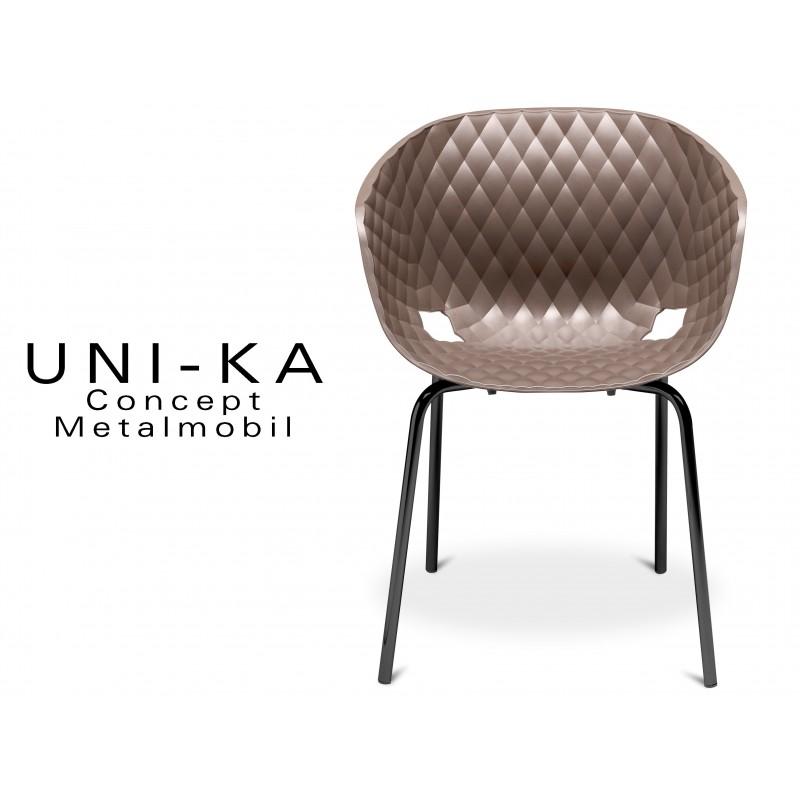 UNI-KA chaise coque couleur moka, piétement peinture couleur noire