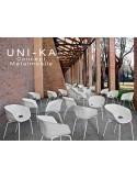 UNI-KA chaise coque couleur blanche, piétement peinture couleur blanche