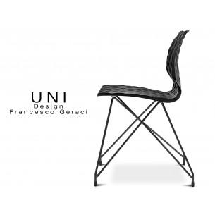 UNI chaise design piétement fantaisie noir assise coque couleur noire.