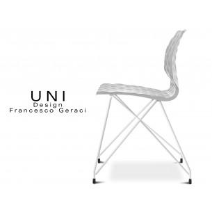 UNI chaise design piétement fantaisie blanc assise coque couleur blanche.