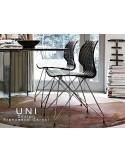 UNI chaise design piétement fantaisie chromé assise coque couleur noire.