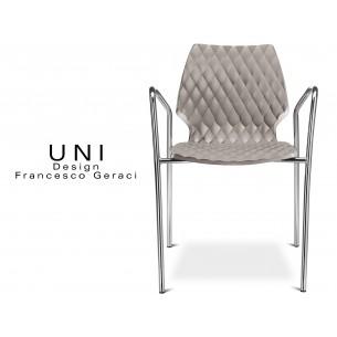 UNI fauteuil design piétement chromé assise coque couleur gris tourterelle.