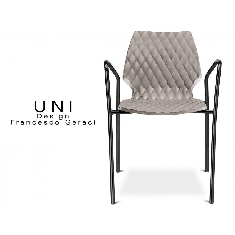 UNI fauteuil design piétement peinture noire assise coque couleur gris tourterelle.