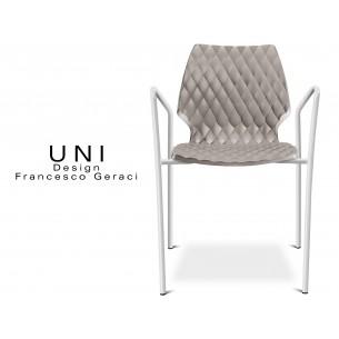 UNI fauteuil design piétement peinture blanche assise coque couleur gris tourterelle.