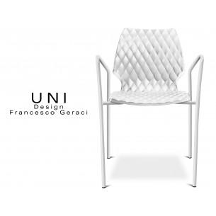 UNI fauteuil design piétement peinture blanche assise coque couleur blanche.