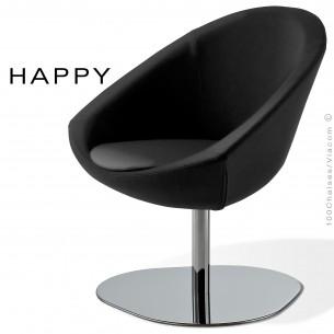 Petit fauteuil lounge pour salle d'attente ou hall d'accueil HAPPY, colonne centrale chromé, assise garnie, habillage tissu noir