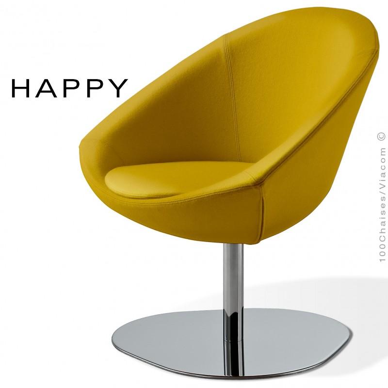 Petit fauteuil lounge pour salle d'attente ou hall d'accueil HAPPY, pied central chromé, assise garnie, habillage tissu jaune