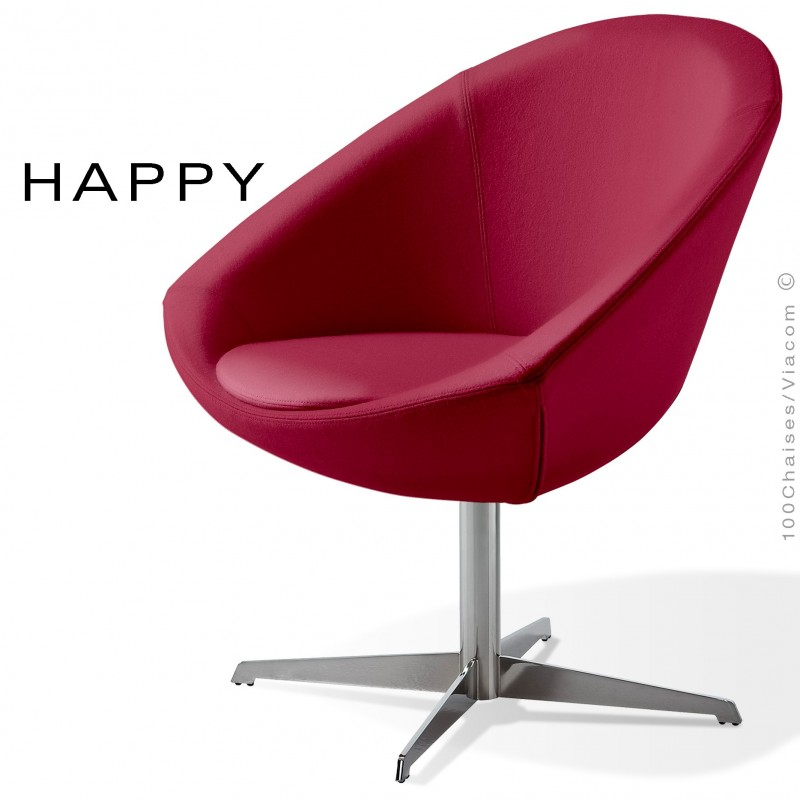 Petit fauteuil lounge pour salle d'attente ou hall d'accueil HAPPY, pied central chromé, assise garnie habillage tissu vin