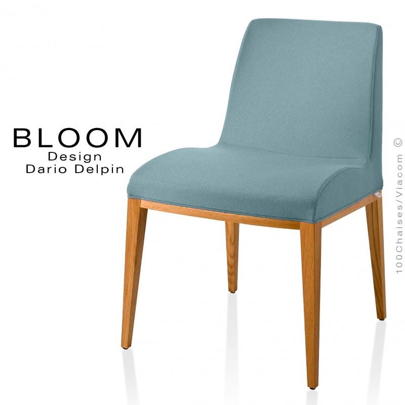 Chaise BLOOM, structure bois vernis naturel, assise et dossier garnis, habillage 100% laine, couleur bleu