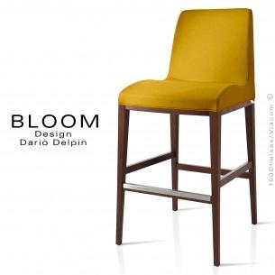 Tabouret de bar lounge BLOOM, structure bois noyer, assise et dossier garnis, habillage tissu jaune