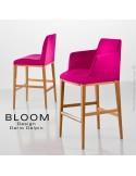Collection tabouret de bar lounge BLOOM, structure bois vernis, assise et dossier garnis, habillage tissu