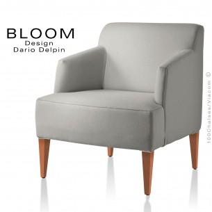 Fauteuil pour salon lounge BLOOM, structure bois vernis naturel, assise et dossier garnis, habillage 100% laine, couleur gris