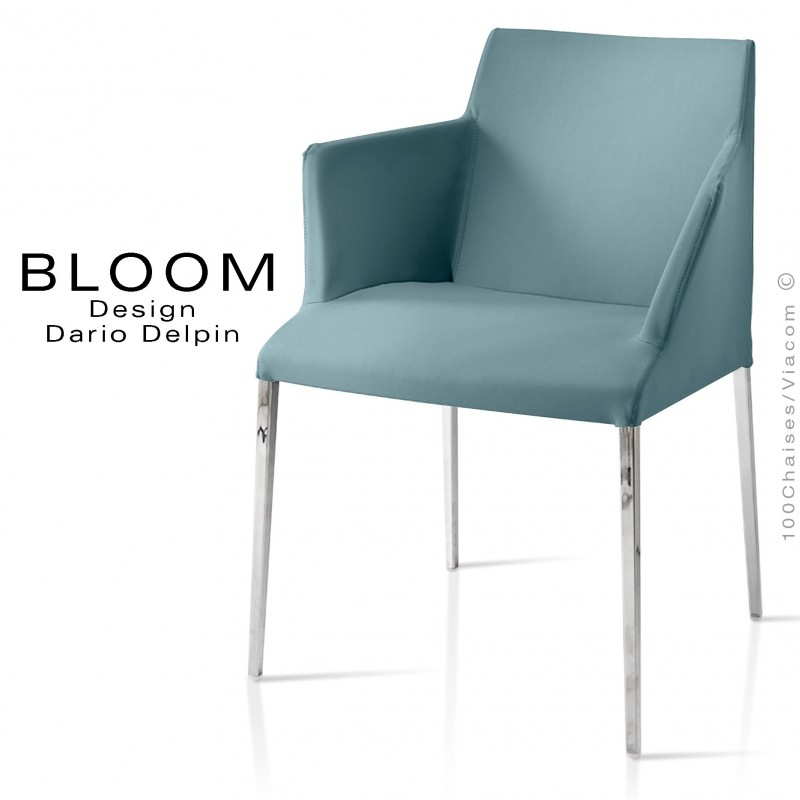 Petit fauteuil, BLOOM, structure acier chromé, assise et dossier garnis, habillage 100% laine, bleu
