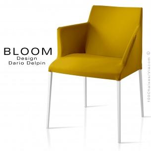 Petit fauteuil, BLOOM, piètement peint blanc, assise et dossier garnis, habillage 100% laine, jaune