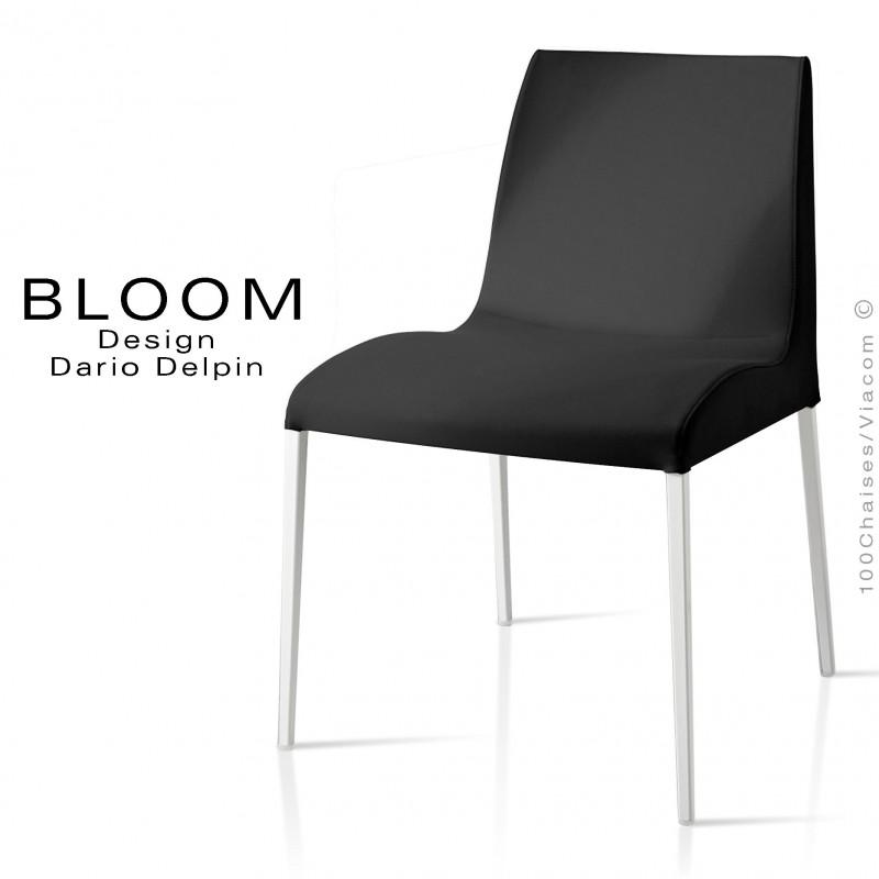 Chaise confort BLOOM, piètement peint blanc, assise et dossier garnis, habillage 100% laine, noir
