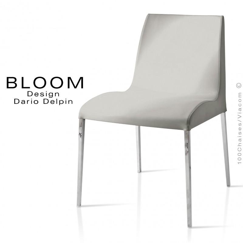 Chaise confort BLOOM, piètement acier chromé, assise et dossier garnis, habillage 100% laine, gris