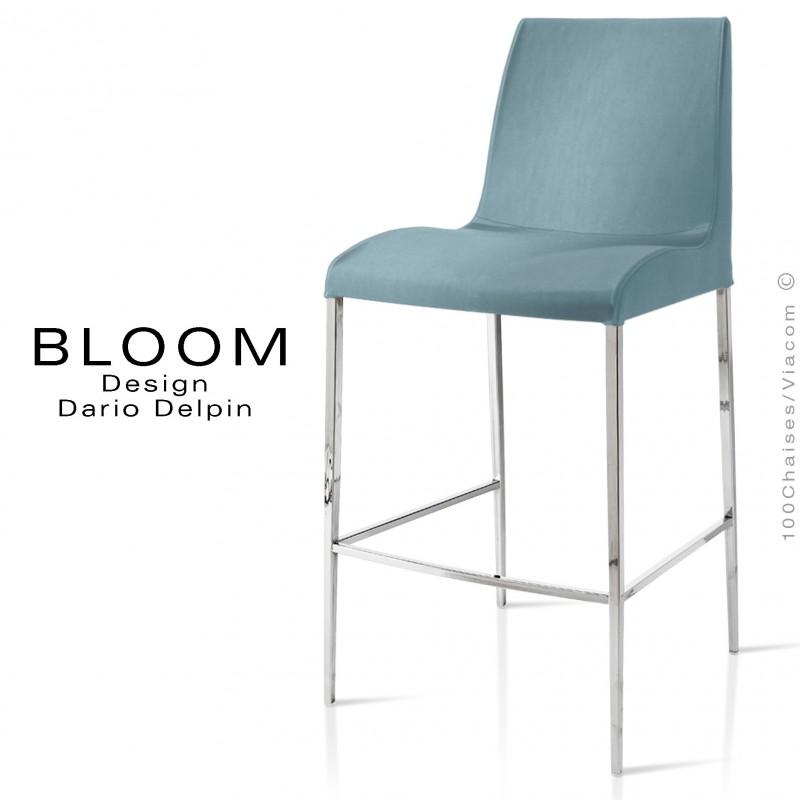 Tabouret de bar lounge BLOOM, structure acier chromé, assise et dossier garnis, habillage tissu bleu