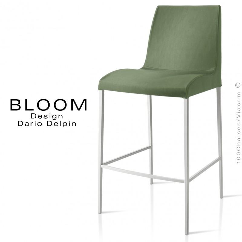 Tabouret de bar lounge BLOOM, structure acier peint blanc, assise et dossier garnis, habillage tissu vert 1C