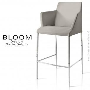 Tabouret de bar lounge avec accoudoirs BLOOM, structure acier chromé, assise et dossier garnis, habillage tissu gris
