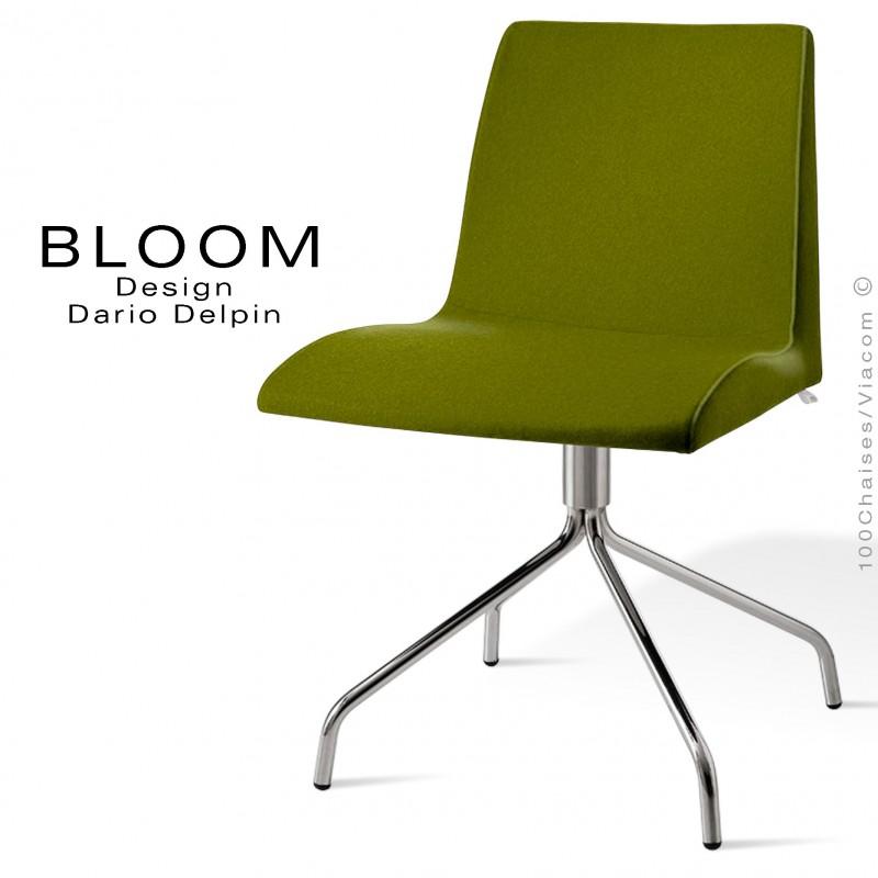 Chaise confort bureau pivotante BLOOM, pieds 4 branches acier chromé, assise et dossier garnis, habillage 100% laine, vert 1K