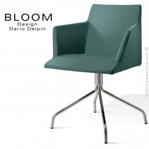 Fauteuil confort bureau pivotant BLOOM, pieds 4 branches acier chromé, assise et dossier garnis, habillage, vert-gris