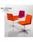 Collection chaise et fauteuil BLOOM, piètement peint ou acier chromé avec assise pivotante