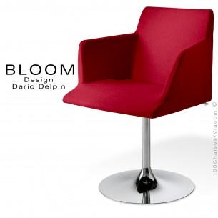 Fauteuil pied trompette confort BLOOM, colonne centrale acier chromé, assise et dossier garnis, habillage 100% laine, rouge