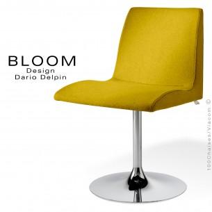Fauteuil pied trompette confort BLOOM, colonne centrale acier chromé, assise et dossier garnis, habillage laine feutre jaune