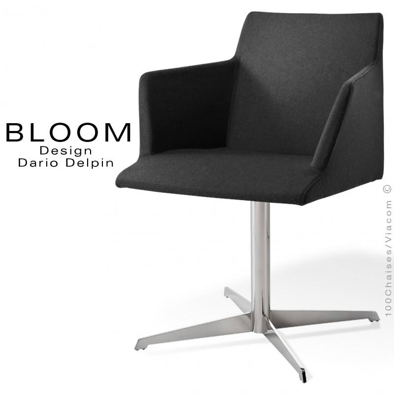 Fauteuil pivotant confort BLOOM, pied colonne central 4 branches acier chromé, assise et dossier garnis, habillage feutre noir