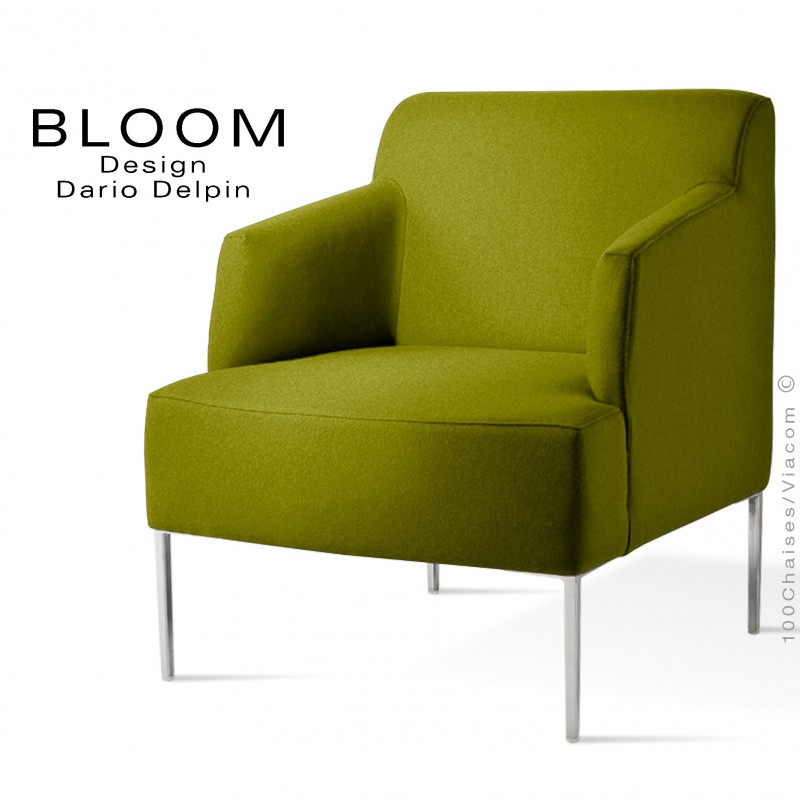 Fauteuil pour salon lounge BLOOM, piètement acier chromé, assise et dossier garnis, habillage feutre vert 1K
