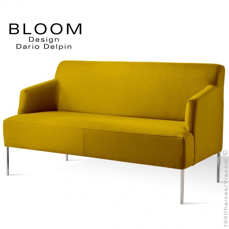 Banquette pour salon lounge BLOOM, piètement acier chromé, assise et dossier garnis, habillage 100% laine type feutre jaune