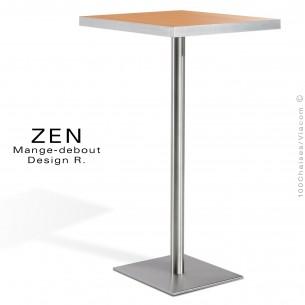 Table mange-debout pour restauration ZEN piètement colonne centrale inox, plateau stratifié aspect bois hêtre.