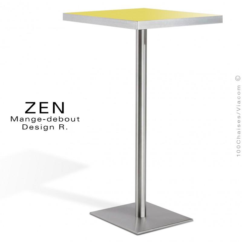 Table mange-debout pour restauration ZEN piètement colonne centrale inox, plateau stratifié couleur jaune