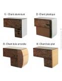 Profil chant plateau possible sur demande.ement colonne centrale inox, plateau stratifié aspect bois hêtre.