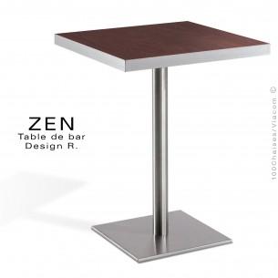 Table pour la restauration et l'hôtellerie ZEN piètement colonne centrale inox, plateau stratifié aspect bois noyer foncé